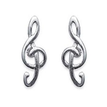 Boucles d'oreilles clé de sol en argent 925/000