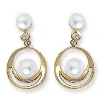Boucles d'oreilles en plaqué-or et perles d'imitation