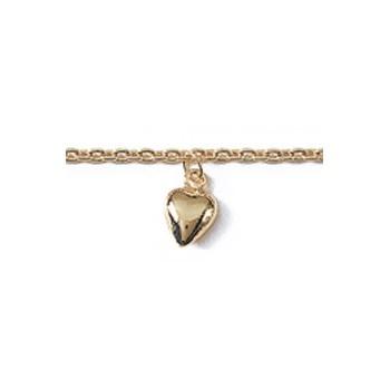 Bracelet en plaqué-or. 6 coeurs.