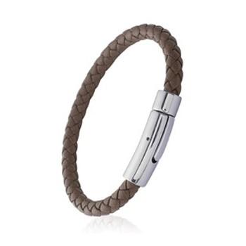 Bracelet en cuir marron et acier. 398864.