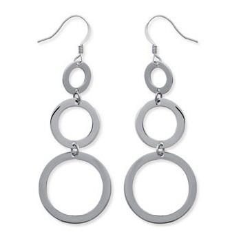 Boucles d'oreilles 3 anneaux en acier 316 L