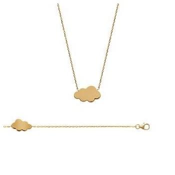Bracelet et/ou collier nuage en plaqué-or.