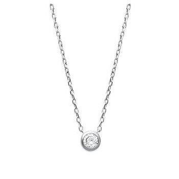 Collier en argent rhodié avec pierre ronde en OZ sertie.