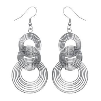Boucles d'oreilles acier. Triple spirales entrelacées.