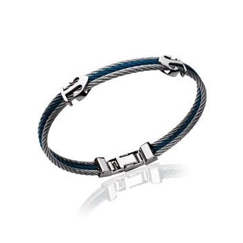 Bracelet pour homm argenté et bleu avec 2 ancres.  Acier