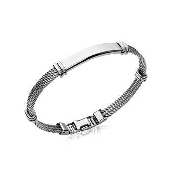 Bracelet en acier pour homme. Modèle  triple cables, couleur argenté.