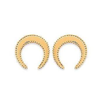 Boucles d'oreilles en plaqué or.  Lune.