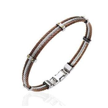 Bracelet en acier marron et argenté. Modèle Homme.