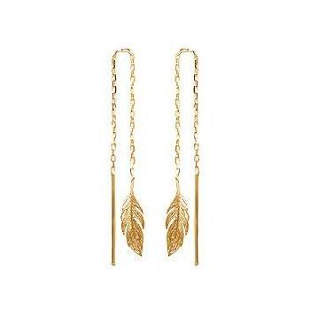 Boucles d'oreilles en plaqué or.  Pendantes avec plumes.