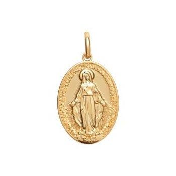 Médaillon en plaqué or.  Vierge Marie.