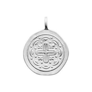 Médaillon avec croix, un style artisanal en plus.  Argent 925/000 rhodié.