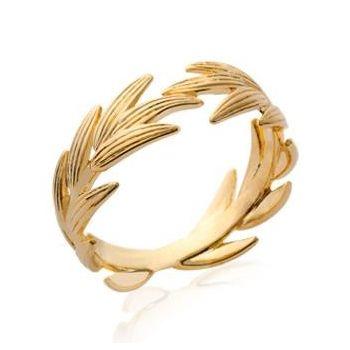 Bague en plaqué or.  Modèle couronne de laurier.