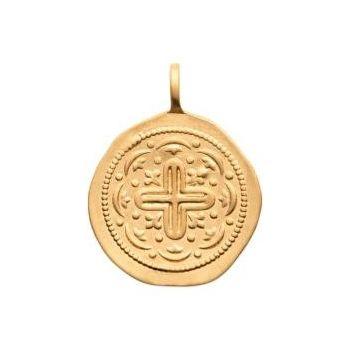 Médaillon de style artisanal avec croix en plaqué or 750/000
