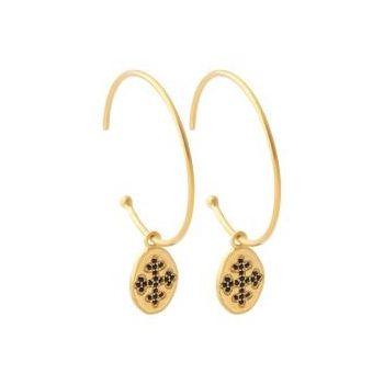 Créoles ouvertes avec médaillon et une croix noir . Plaqué or.