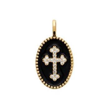 Médaillon noir avec croix.  Plaqué or, émail et oxyde de zirconium.