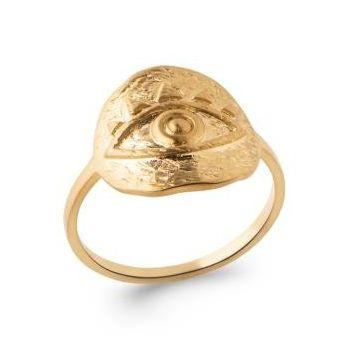 Bague oeil antique de style artisanal en plaqué or.