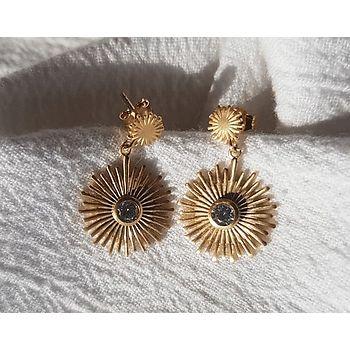 Boucles d'oreilles my sun avec pierre sertie en plaqué or.