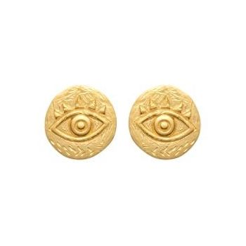 Boucles d'oreilles oeil antique de style artisanal.  Plaqué or 750/000.