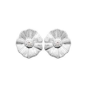 Coqulicot.  Boucles d'oreilles en argent rhodié avec zirconium sertis.