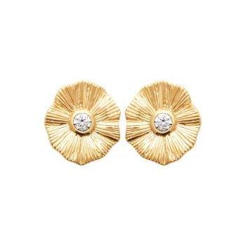 Coquelicot. Boucles d'oreilles en plaqué or avec zirconium sertis
