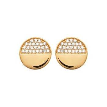 Boucles d'oreilles rondes en plaqué or avec brillants sur la moitié.