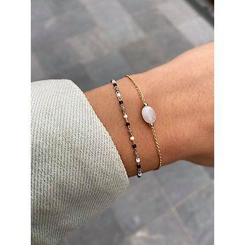 Bracelet double rangs en plaqué or, perles et pierre de lune.
